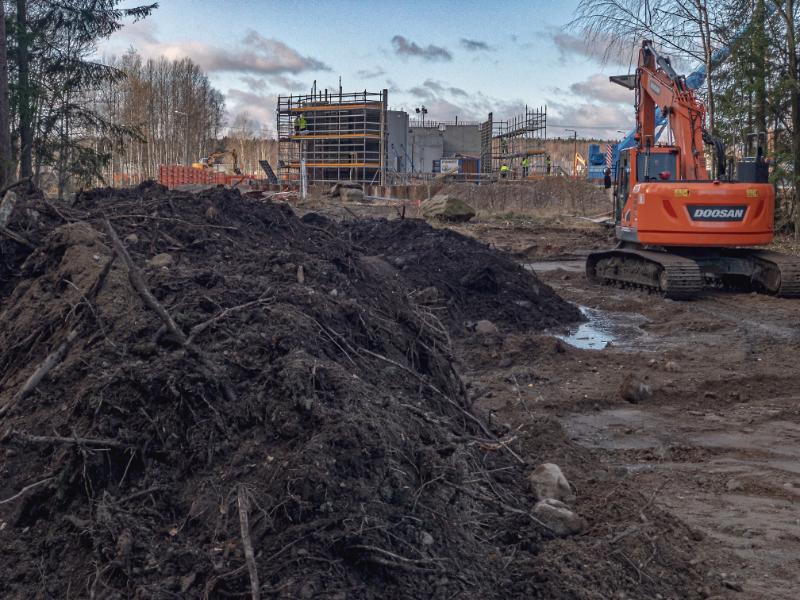 Aukko metsässä, uusi reitti, taustalla rakentuva metrokeskus - Kuva Jukka Ranta