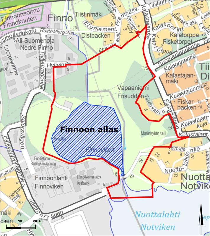 Suomenojan suoja-alue - Kartta: Espoon kaupunki