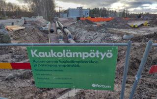 Kaukolämpöputkia uudistetaan - Kuva Jukka Ranta